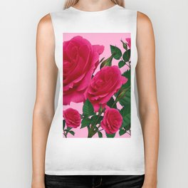 DECORATIVE RED GARDEN ROSES PINK ART Biker Tank