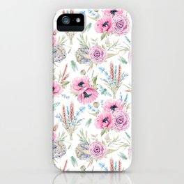 Mauve pink lilac green watercolor cactus roses floral iPhone Case