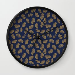 Blue Gingko china style. Gold ginko leaves silhouette. Floral Japanese ornament. Wall Clock