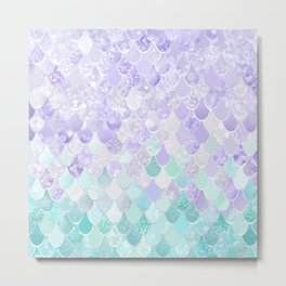 Mermaid Iridescent Purple and Teal Pattern Metal Print