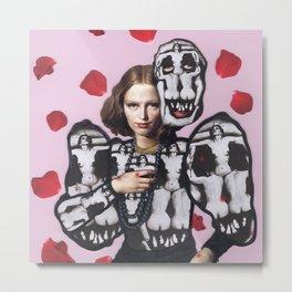 Rose Skull Woman Metal Print