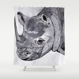 Rhino - Animal Series in Ink Shower Curtain