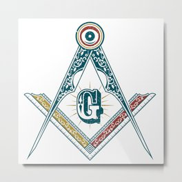 Square and Compass - freemasonry Metal Print