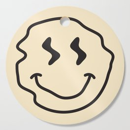 Wonky Smiley Face - Black and Cream Cutting Board
