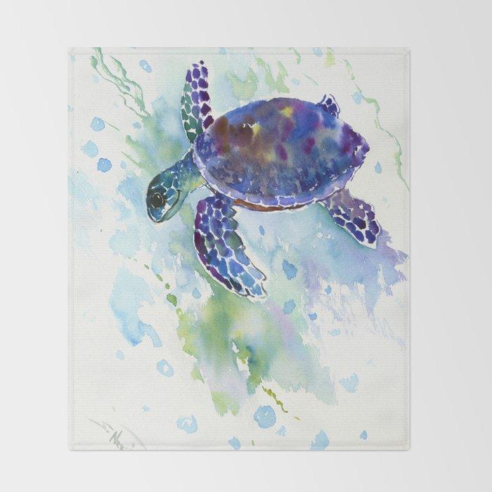 Happy Sea Turtle, aquatic marine blue purple turtle illustration Throw Blanket