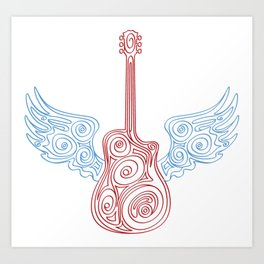 limited edition: musical guru guitar with wings Art Print
