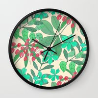 botanical Wall Clocks featuring Botanical by Louise Elizabeth