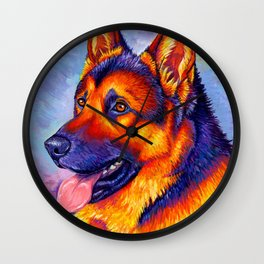 Colorful German Shepherd Dog Wall Clock
