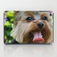 yorkie iPad Cases featuring Happy Yorkie by IowaShots