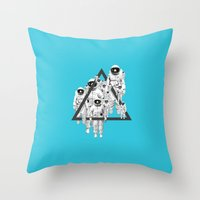 lee pace Throw Pillows featuring Pace Man by Pame Pinto Rojas