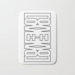LOVE - symmetric typography pattern Bath Mat