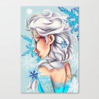 frozen elsa Canvas Prints featuring Elsa - Frozen by MissMachineArt