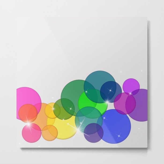 Translucent Rainbow Colored Circles with Sparkles - Multi Colored Metal Print