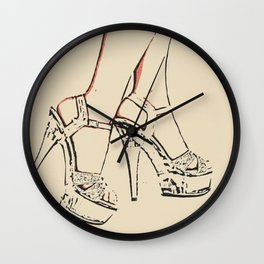 Simply sexy, perfect girl legs, hot, kinky high heels, sensual erotic close up, fit woman body, nude Wall Clock