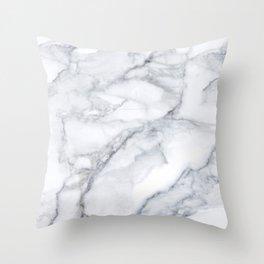 White Marble Carrara Texture Throw Pillow