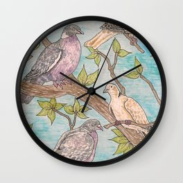 Various Pigeons Wall Clock