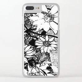 Noir Sunflower Explosion Zoom Clear iPhone Case