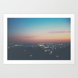 Looking down on the lights of Los Angeles as night. Art Print