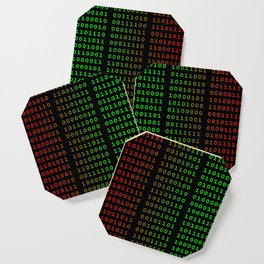 Binary Green and Red With Spaces Coaster