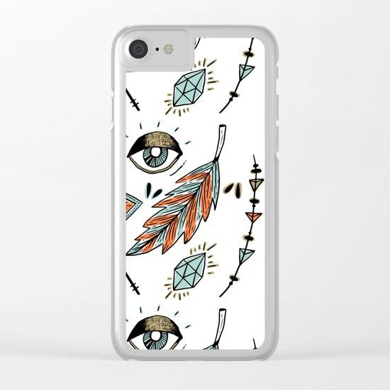 Boho eyes & feathers Clear iPhone Case