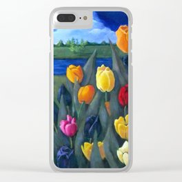 Tulips with Dutch Landscape Clear iPhone Case