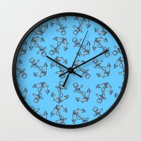 anchors Wall Clocks featuring Anchors by Jumanaah Hiasat