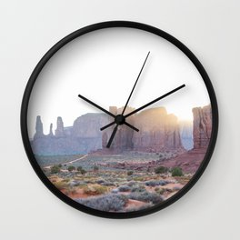 Monument Valley at Sunset Wall Clock