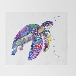 Sea Turtle Rainbow Colors, turtle design illustration artwork animals Throw Blanket