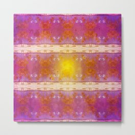 Beach Scene Retro Pattern Metal Print