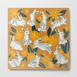 Bunnies & Blooms - Ochre & Teal Palette Metal Print