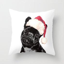 Christmas Bulldog Throw Pillow