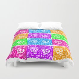 Day of the Dead Sugar Skull Papel Picado Flags Duvet Cover