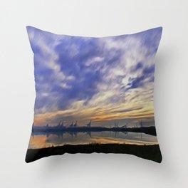 The Docks (Digital Art) Throw Pillow