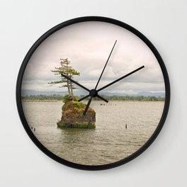 Altoona Rock Seastack Island Columbia River Oregon Washington Northwest Landscape Forest Trees Wall Clock