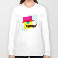 mid century Long Sleeve T-shirts featuring Mid Century Mustache Man - CMYK by Modern South Design