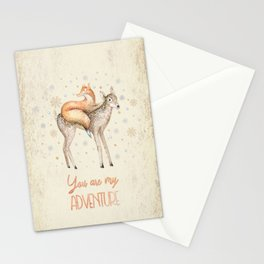 You are my adventure- fox and deer in winter- merry christmas Stationery Cards