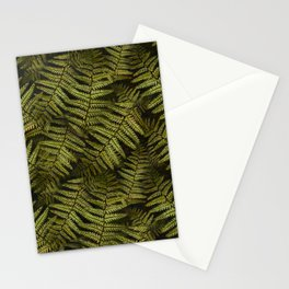 Among the ferns in the forest (military green) Stationery Cards