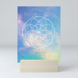 Seed of Life,  Sacred Geometry over Galaxy - Green & Blue Mini Art Print