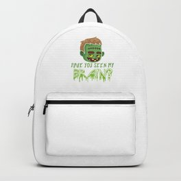 Halloween Party Hallows Eve Gift Have You Seen My Brain Frankie Green Monster Backpack
