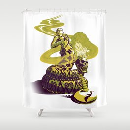 SnakeWoman and Demon-Skull Bong Shower Curtain