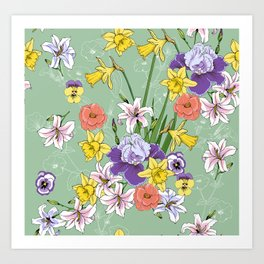 Floral pattern with daffodils and irises Art Print