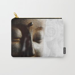 Buddha's face with faded white roses Carry-All Pouch