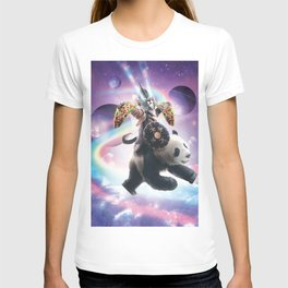 Lazer Warrior Space Cat Riding Panda With Taco T-shirt