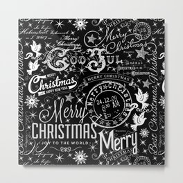 Black and White Christmas Typography Design Metal Print