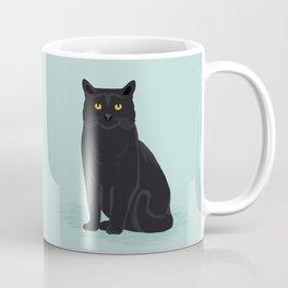 Black Cat cute cat breed customized pet portrait mint background cat lady gifts gender neutral kitty Coffee Mug