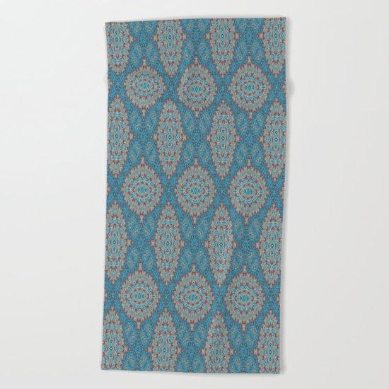 Tribal Tile Blue Beach Towel