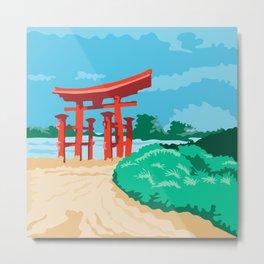 Torii Japanese Gate WPA Metal Print