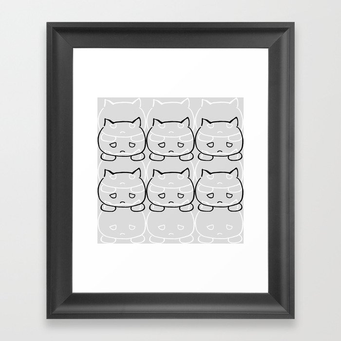 Emocat Allover Gray Framed Art Print