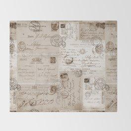 Old Letters Vintage Collage Throw Blanket