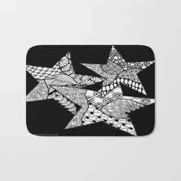Midnight Zentangle Stars Black and White Illustration Bath Mat